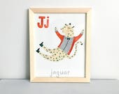 Animal Alphabet Letter J - 8 X 10 Digital Print, Nursery Room Decor, Art Print, Kids Room, Alphabet, Childrens Prints, Gift for Baby, Baby