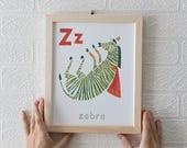 Animal Alphabet Letter Z - 8 X 10 Digital Print, Nursery Room Decor, Art Print, Kids Room, Alphabet, Childrens Prints, Gift for Baby, Baby