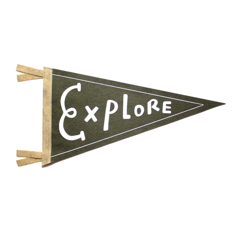 Explore Wool Pennant Flag Wall Hanging Gift for Baby Room image 0