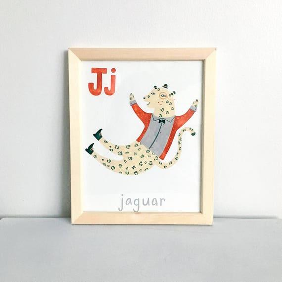 Animales alfabeto letra J 8 X 10 impresión Digital | Etsy