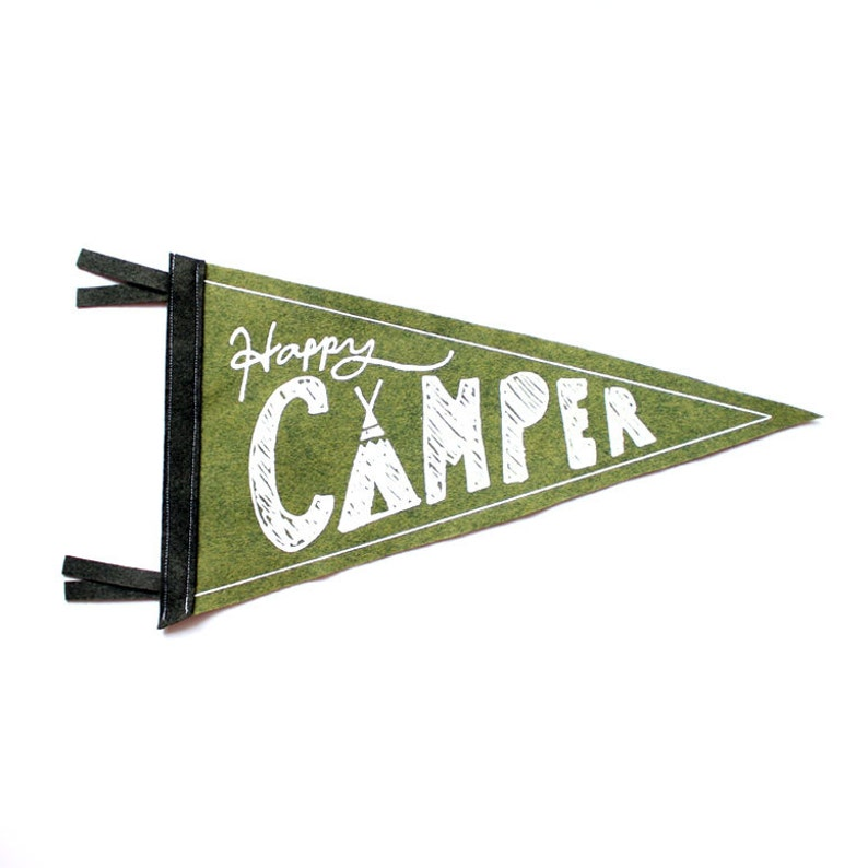 Happy Camper Wool Pennant Flag Wall Hanging Gift for Baby image 0