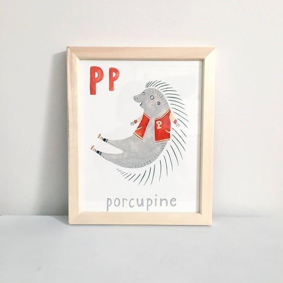 Animales alfabeto letra P 8 X 10 impresión Digital | Etsy