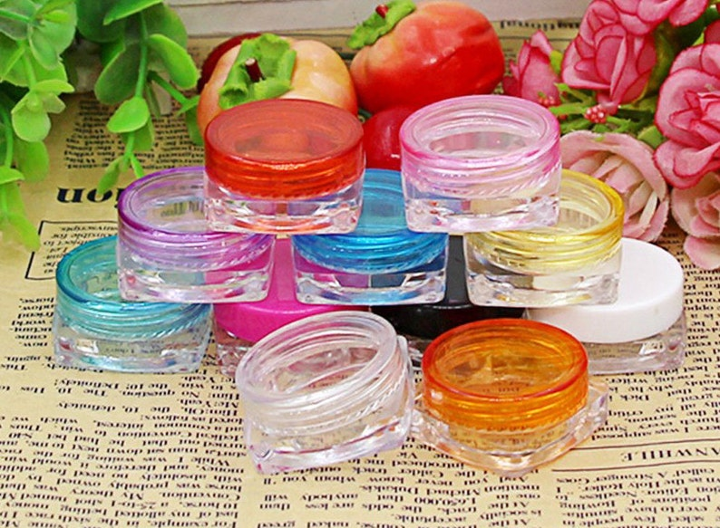 893b37375c63 10pcs 5g (5ml, 0.17oz) Empty Clear Container Makeup Bottle for Cosmetic  Cream Jewelry, Multicolored screw on lid, http://1supply.etsy.com