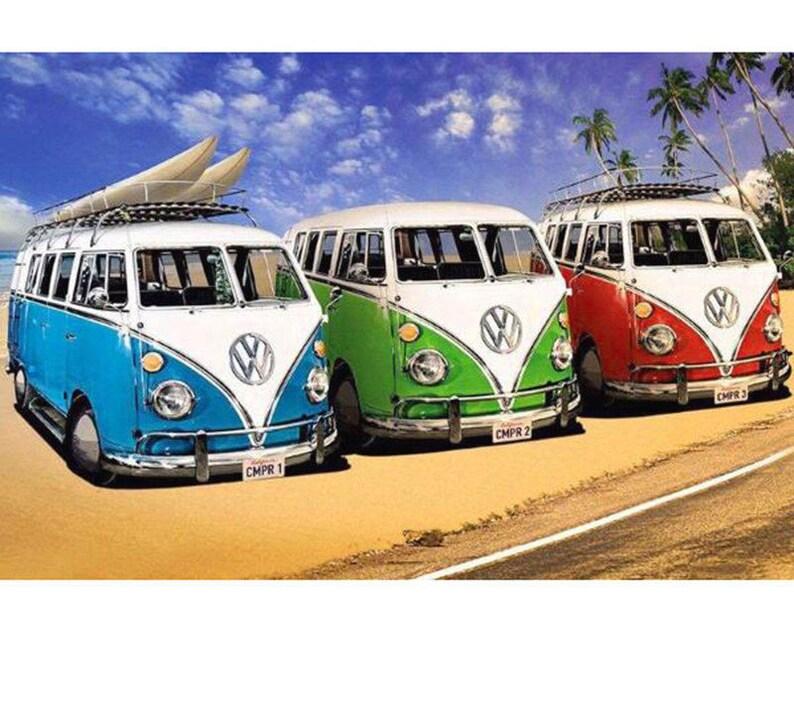 Volkswagen camper vans Mosaic Diamonds Kit, Car Full Square Diamond Mosaic  DIY 3D Embroidery Cross Stitch Kits Home decor 1supply etsy com