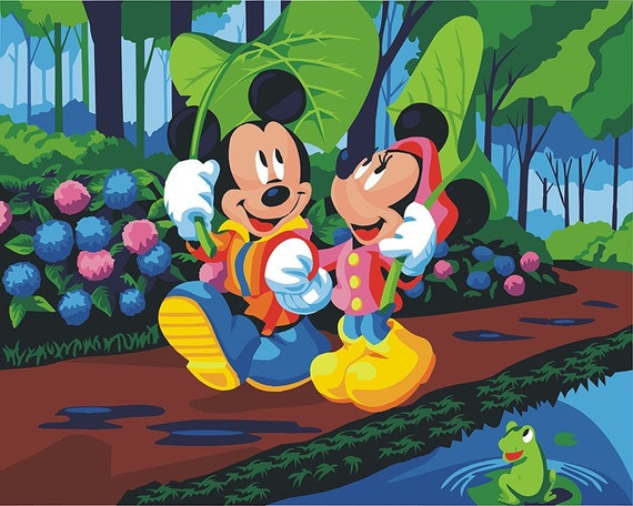 Mickey And Minnie Mouse Paint By Number Kit Disney Cartoon Etsy