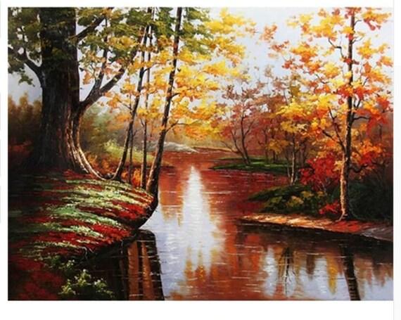 Herbstliche Landschaft Malen Nach Zahlen Herbst Wald Zum Etsy