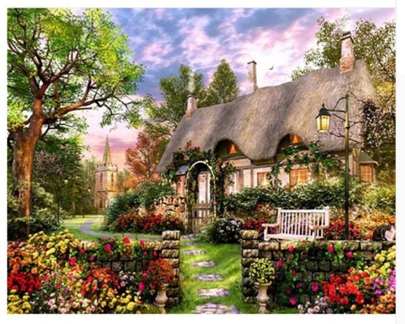 Europäische Cottage Malen Nach Zahlen Landschaft Zum Selbermachen Pbn Wohnkultur Für Erwachsene Diy 16 20 Malerei Dekor Handwerker Geschenk Idee