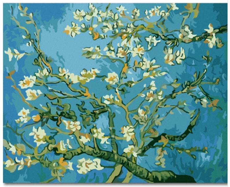 Vincent Van Gogh Paint By Number Kit Branches With Almond Blossom Diy Kit Painting On Canvas Decor Adult Craft Kit Gift Painting 1620