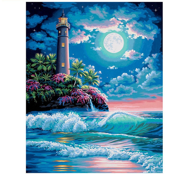 Landscape Paint by Number Kit Lighthouse Under Moonlight DIY Kit Painting on canvas