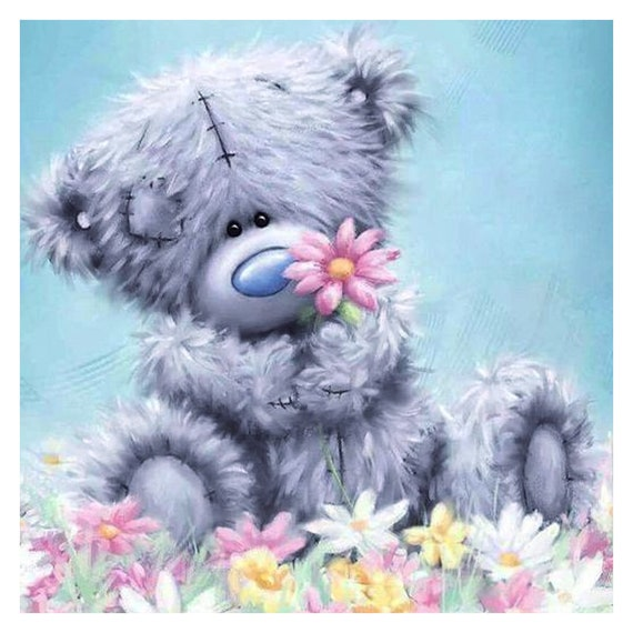 Teddy Bear Mosaic Diamonds Kit Blue Grey Teddy Bear 5d