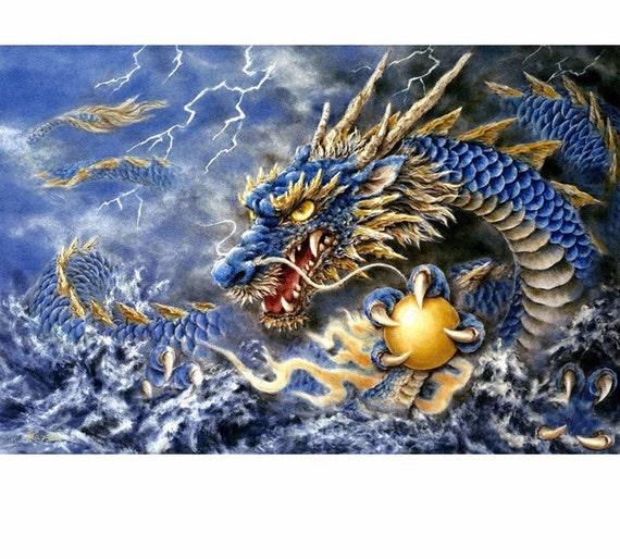 40*30cm DIY Blue Dragon Full Drill 5D Diamond Painting Embroidery Cross Stitch