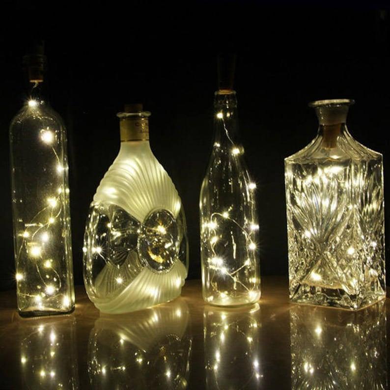 Wedding Lights 2pcs Copper wire lights in 2 m 20 LED wine bottle lights http:1supply.etsy.com Copper String Lights Firefly Light