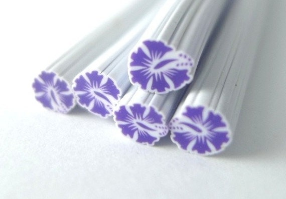 S177 Honeymoon In Hawaii Purple Hibiscus Polymer Clay Cane Etsy