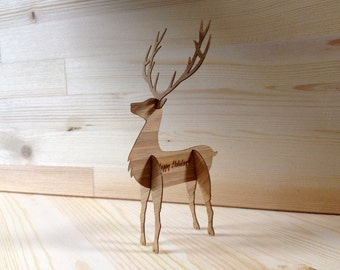 3D Reindeer Card or Holiday Gift Pop-Out made from Specialty Bamboo with Colorful Envelope  Christmas Card Wood