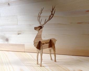 3D carte de renne ou de vacances cadeau Pop-Out fabriqué à partir de spécialité de bambou coloré enveloppe carte de Noël bois