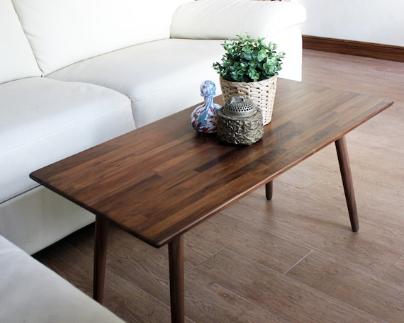Classic Walnut Coffee Table - Mid Century Modern Eames Style Design Boho Wood Furniture
