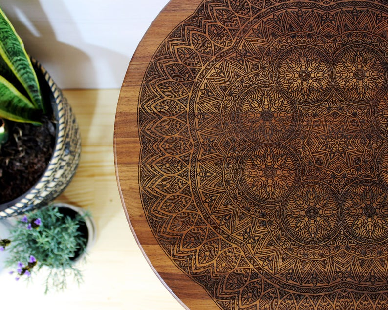 Geometric Modern Mid Century Design Boho Illustration Engraved Hardwood End  Side Table or Night Stand