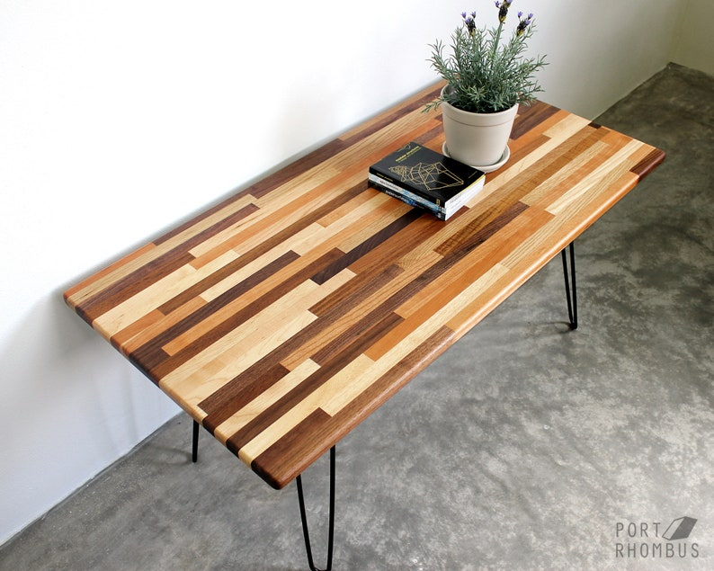 Mixed Wood Coffee Table Hairpin Legs Walnut Modern Furniture Etsy