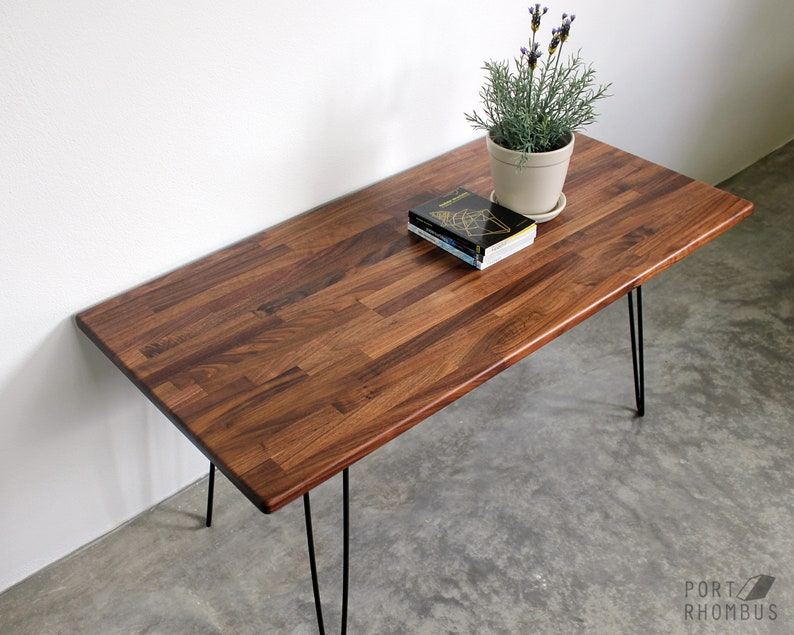 Walnut Wood Coffee Table Hairpin Legs Modern Furniture Mid Etsy