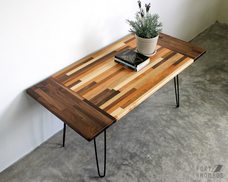 3 Panel Walnut Mixed Wood Coffee Table Modern Furniture Etsy