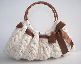 SHOULDER Bag, Handbag Everyday Knitted Cream Bag Nr.050