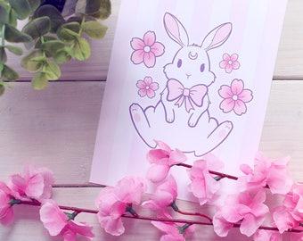 Sakura Usagi or Neko Art Prints - A5 / 5x7in / Large / Mini - Signed