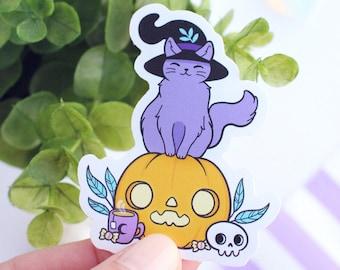 Witchy Black Cat & Pumpkin Glossy Vinyl Stickers / Nikury / Weatherproof Waterproof Vinyl / Spooky Halloween Familiar