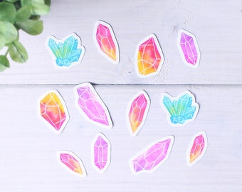 12 pack Watercolor Crystals Vinyl Stickers - Sticker Set