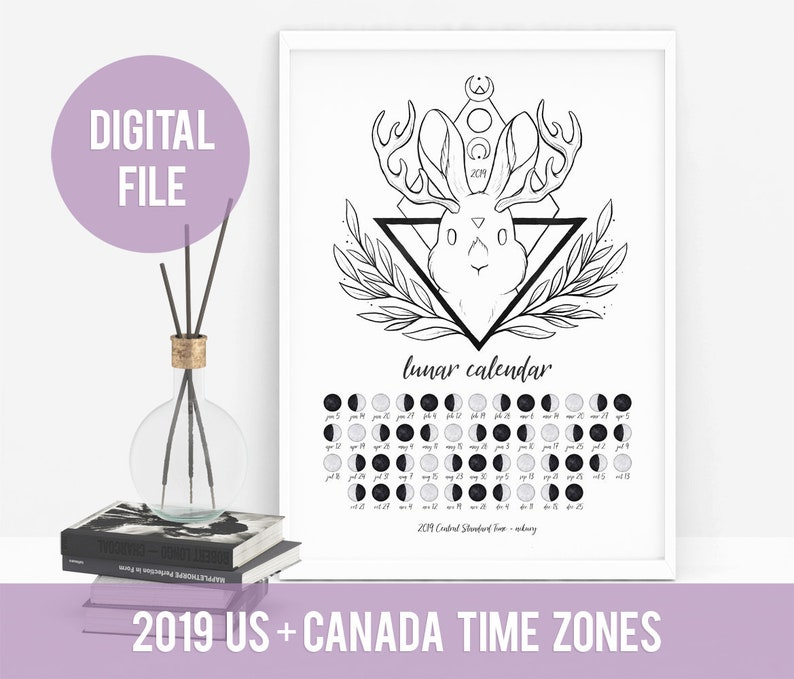 Calendario Lunare Maschio O Femmina Funziona.Stampabile Calendario Lunare 2019 Luna Fasi Lunari Calendario Usa Canada