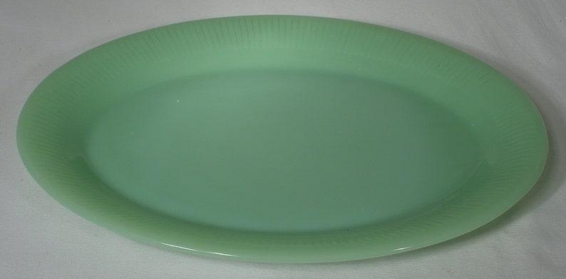 Vintage Jadeite Fire King Serving Platter Jane Ray Art Deco mid century glassware milky green