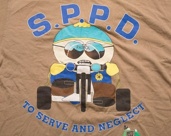 South Park Cartman SPPD Police T-Shirt, Comedy Central, Vintage 1990s, Cartoon Character, To Serve and Neglect
