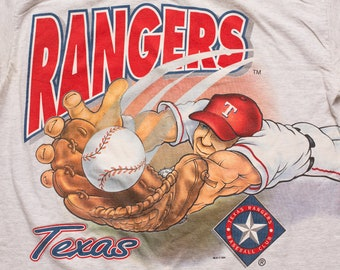 82acb58a Texas Rangers T-Shirt, L, Diving Baseball Player, Vintage 1990s, MLB Team  Apparel, Two-Sided Wrap Around Graphic Tee, Cartoon