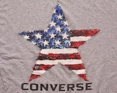 Converse Star T-shirt, American Flag Graphic Tee, Vintage 1990s, Made in USA, Skater Sportswear, Chucks, Cons, Shoe Company, Patriotic