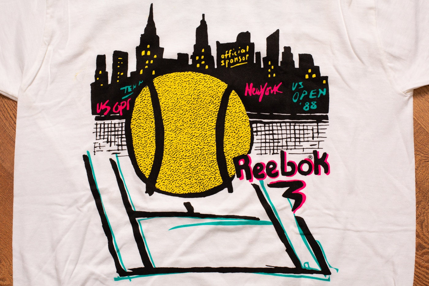 3770b972a3c3e 80s Reebok 1988 US Open NEON T-Shirt, M, NYC Tennis Tournament, Vintage  1980s, New York City, Hip Hop, Sportswear, Streetwear