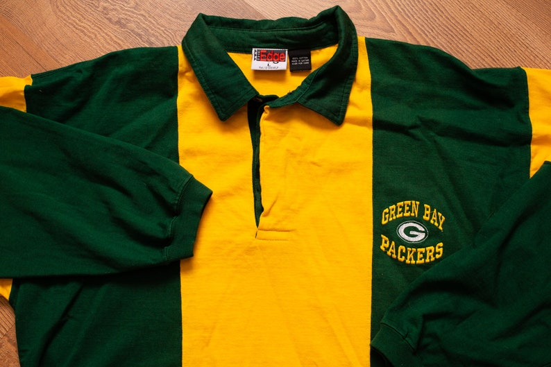 2bf44e4e906ee Green Bay Packers Polo Shirt, Long Sleeve Rugby Style, L, Vintage 1990s,  NFL Football Team Apparel, The Edge, 1996, Wisconsin