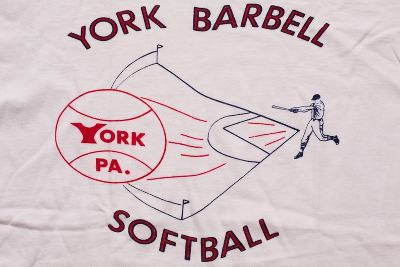 df7ba28d5f84 York Barbell Softball Ringer T-Shirt Champion Blue Bar | Etsy