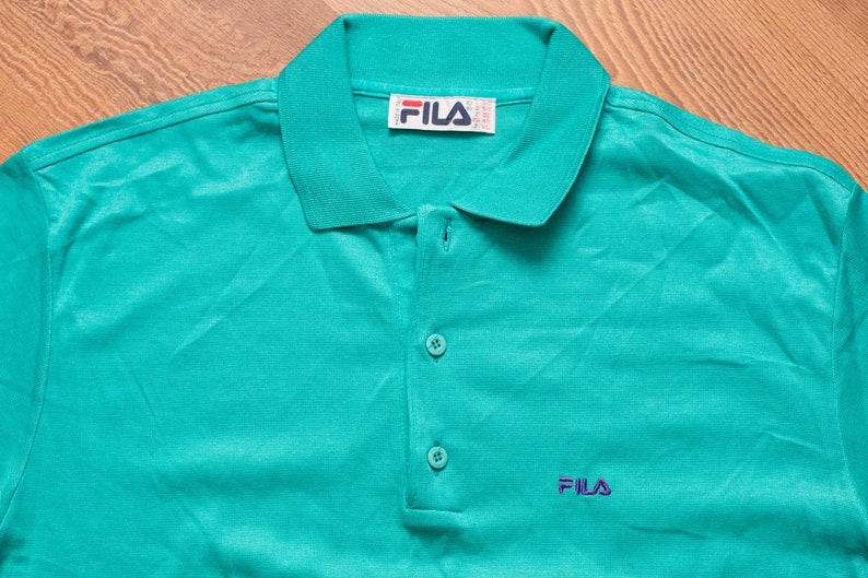 154b36c7f15 NOS FILA Tennis Polo Shirt L Made in Italy Vintage 1980s