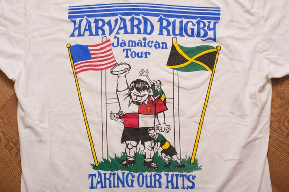 Harvard Rugby T Shirt, 1994 Team Jamaica Spring Tour, Vintage 1990s, Short Sleeve Graphic Tee, Ivy League University, Taking Our Hits