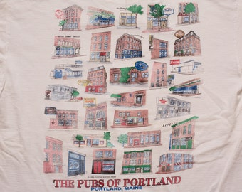 Pubs of Portland T-Shirt, Maine Bars, Vintage 1990s, Building Illustrations, Souvenir Graphic Tee