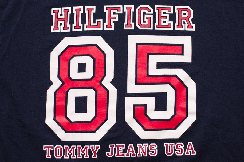 Tommy Hilfiger 85 Spell Out Script T Shirt Rap Hip Hop Etsy