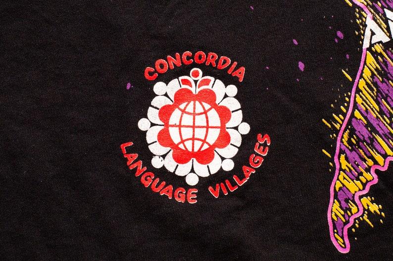 L World Map Neon Colors Culture Education Immersion Vintage Tee 90s Concordia Language Villages T-Shirt