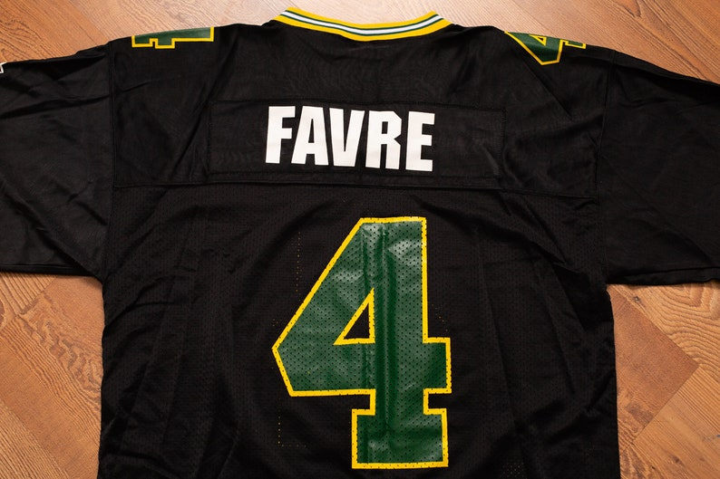 finest selection c17f9 00cb8 Brett Favre #4 Black Starter Jersey, XL, Vintage 1990s, Green Bay Packers,  NFL Football Team Apparel Shirt, 1995, Nylon