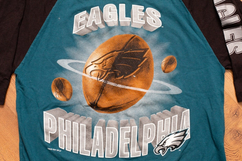 e492d9e8 90s Philadelphia Eagles Raglan T-Shirt, Kids/Youth L, Vintage 1990s, NFL  Football Team, Throwback, Short Sleeve Graphic Tee, Philly Phila