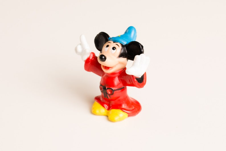 Cartoon Character Mickey Mouse Sorcerer/'s Apprentice Vintage 80s Disney Toy PVC Figure Magic Wizard