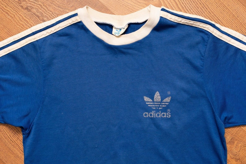 47616912f62 70s-80s ADIDAS Trefoil Logo Striped Blue T-shirt Vintage