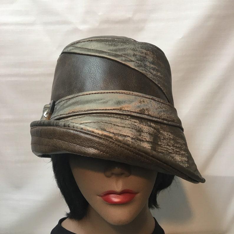 bfa52bb2 Antique Gold Vinyl Bucket Hat Head Size: 23-1/2 Medium | Etsy