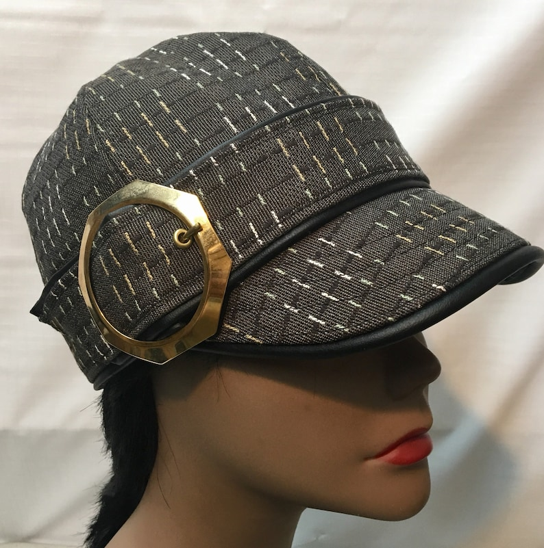 1bd76e31 Grey/Black Print Fabric Cap - Head Size: 23