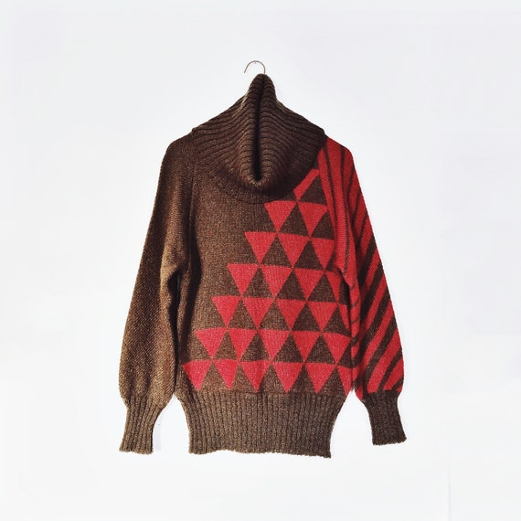 agatha brown 80s knit mohair cowl turtleneck sweat