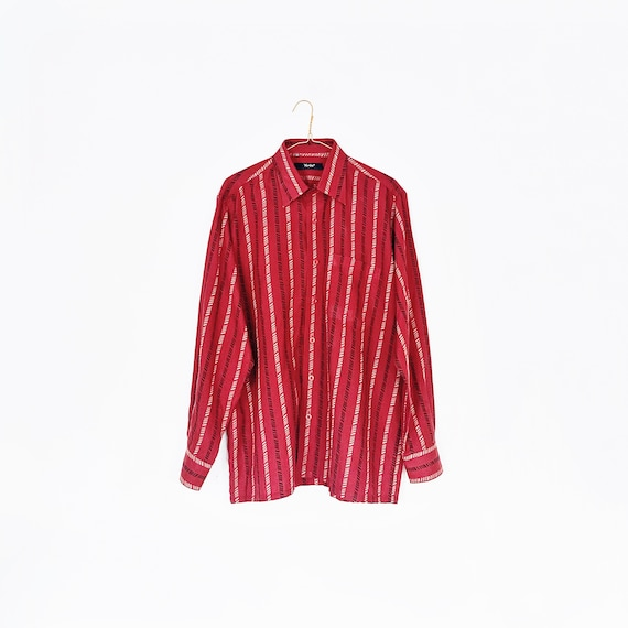 60s / 70s vintage red diagonal line button down -