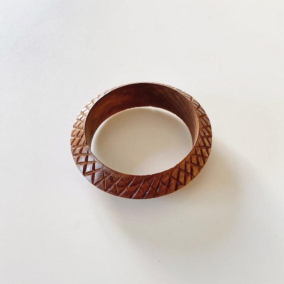 hand made wooden bangle. Vintage wood bangle 1970s wooden bangle